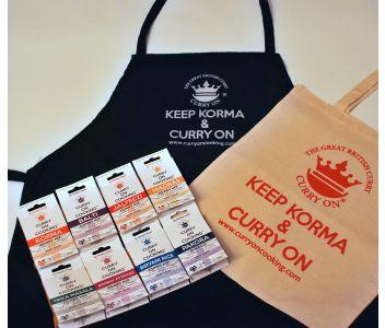 8 Curry Kits with a KEEP KORMA & CURRY ON Apron & Cotton Bag