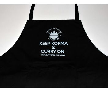 8 Curry Kits with a KEEP KORMA & CURRY ON Apron & Cotton Bag