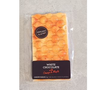 White chocolate flavoured with orange and maple