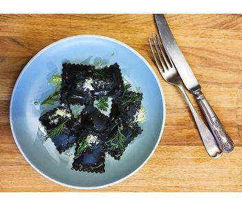 Squid Ink Stained King Prawn & Crayfish Ravioli (6 servings)