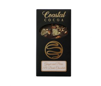 Ginger and Pecan 70% Dark Chocolate Bar