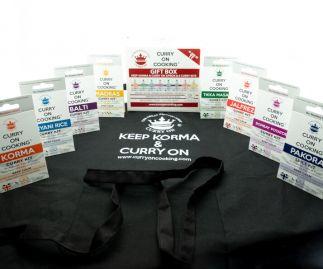 8 Curry Kits with a KEEP KORMA & CURRY ON Apron