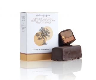 Ginger Caramel Peanut and Chocolate Nougat Enrobed in 72% Dark Choclate ( 3 boxes 2 bars per box)
