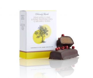 Pineapple Lime and Pink Peppercorn Caramel Chocolate bars ( 3 boxes 2 bars per box)