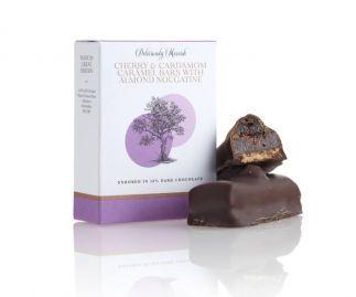 Cherry and Cradamom Caramel with Almond Nougatine Chocolate Bar
