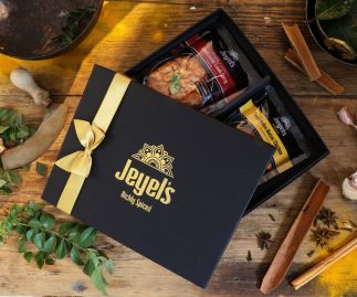 Handmade South Indian Cooking Sauces   Pick Your Cooking Sauces   Any 2 Jeyel's Sauces   Cooking Sauce Gift Box with Silk Bag