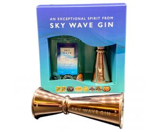 Sky Wave Gin Navy Strength Gin Gift Box & Jigger (1 x 200ml bottle plus Rose Jigger)