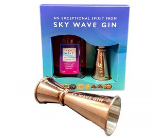 Sky Wave Gin Raspberry and Rhubarb Gift Box & Jigger (1 x 200ml bottle plus Rose Jigger)