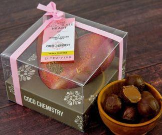 Vegan dark chocolate heart with truffles