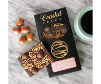 Coffee and Hazelnut 55% Dark Chocolate Bar