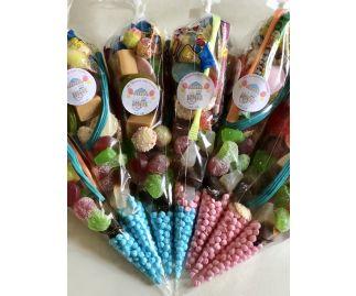 Sweet Cones, Handmade Party Sweet Cones. 6 Pick 'N' Mix Sweet Cones.